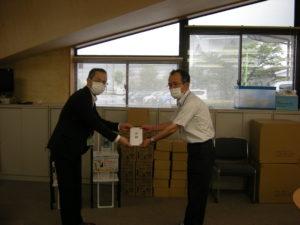 ㈱北陸電算サービス様よりマスク、足踏み式消毒液スタンド、アルコールハンドジェルの寄贈を受けました